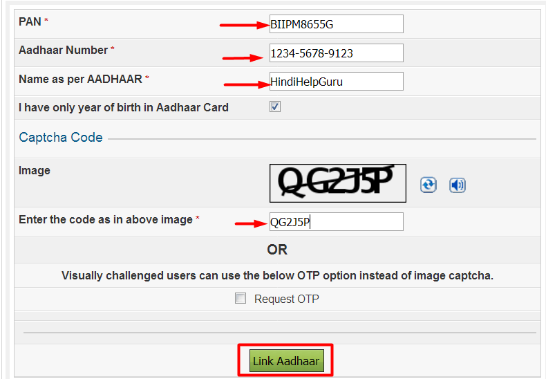how to link aadhar card to pan card in hindi